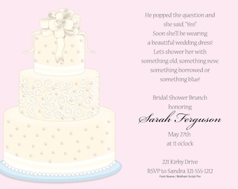 Wedding Cake Invitation, Bridal Shower Invitation, Bridal Shower Invite, Wedding Shower, Wedding Invites, Shower Invitation, Printable
