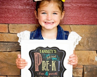 First Day of Pre-K Grade Sign, First Day of School Sign, 1st Day of School, Back to School, Chalkboard Sign, Instant Download,Printable Sign
