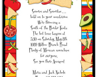 taco party fiesta invitation mexican party food truck ole celebration invite announcement birthday party original digital design iv407
