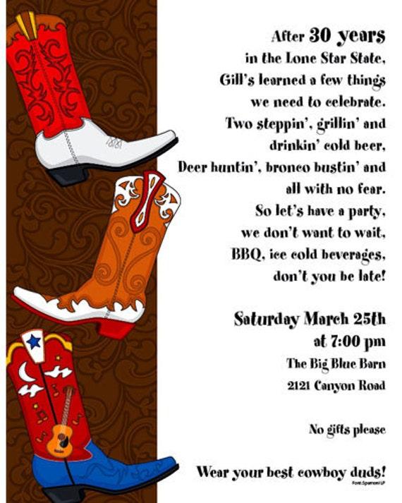 Cowboy Boots Western Invitation Cowboy Birthday Card