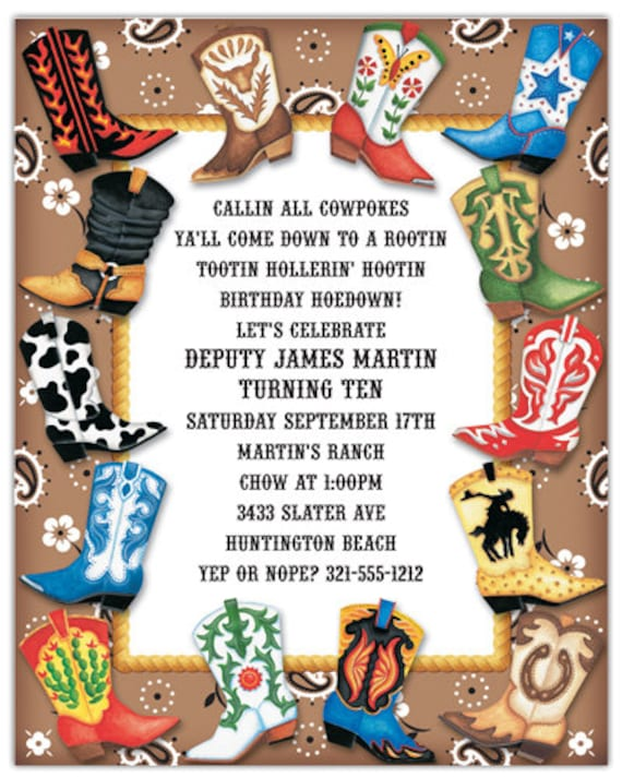 Boot Scootin Western Invitation Cowboy Birthday Card Custom Invitation Card Family Party Invite Announcement Original Design Iv114