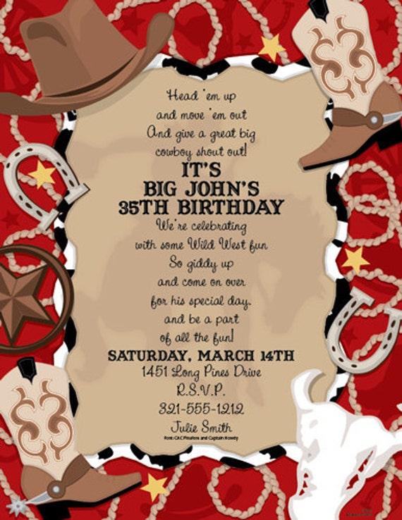 Western Days Country Invitation Cowboy Boot Birthday Card Custom Invitation Card Family Party Invite Announcement Original Design Iv913