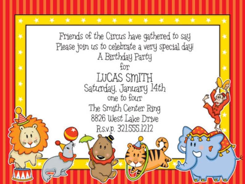 New Baby Shower Original Digital Invitation Carnival Animals Birthday Announcement Circus Animals Party Invitation Big Top Invite IV393