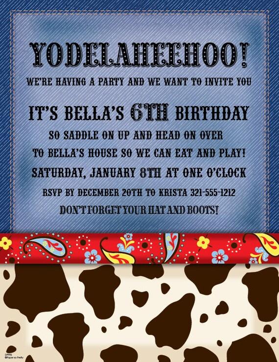Cow Print Western Invitation Cowboy Birthday Card Custom
