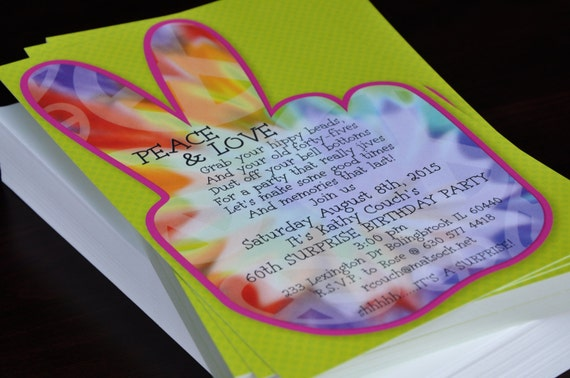 peace sign invitation 60 s party 70 s party invite tie dye love