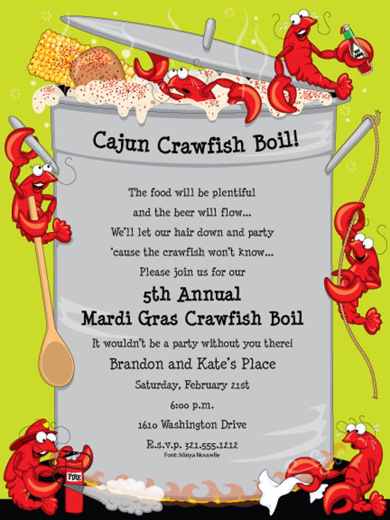 Crawfish Boil Invitation Crawfish Boil Party Crawfish Boil Etsy