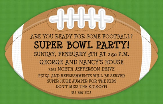 Football Invitation Superbowl Party Family Party Adult Invite
