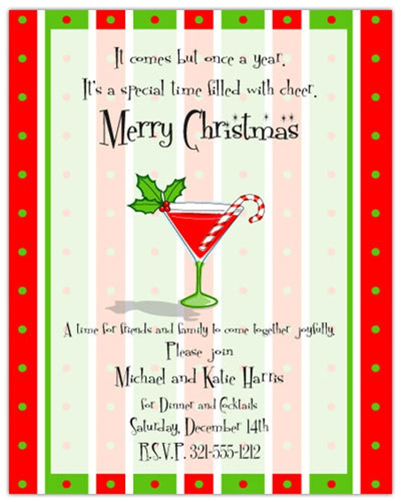 Candy Cane Cocktail Holiday Party Invitation Adult Christmas Invite