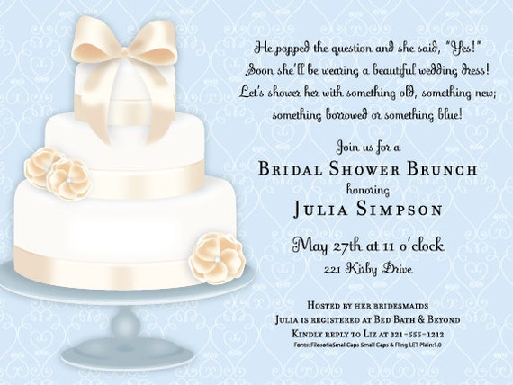 Wedding Cake Invitation, Bridal Shower Invitation, Bridal