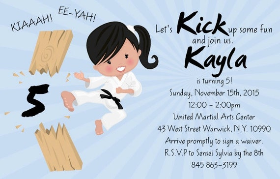 Karate Kid Girl Invitation Tae Kwon Do Party