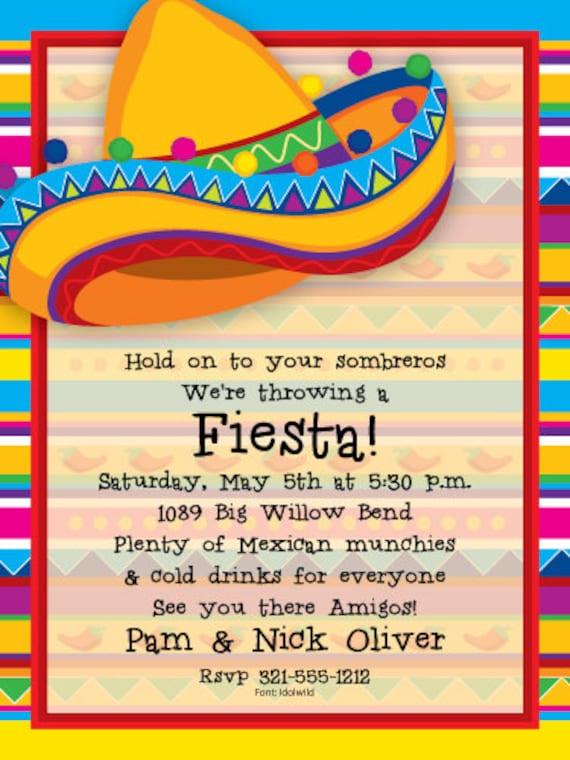 big sombrero fiesta party invitation mexican party invitation ole