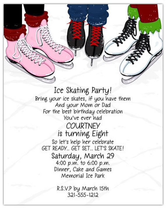 ice skates party invitation family invite winter party