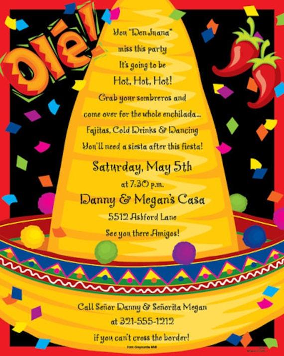 Fiesta Mexican Sombrero Party DIECUT Invitation SET OF 40