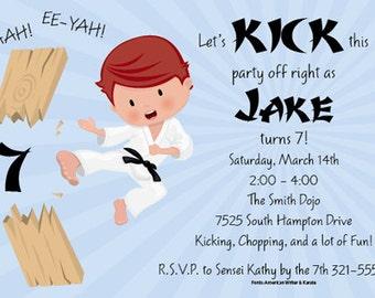 Karate Kid Invitation, Tae Kwon Do Party Invitation, Martial Arts Birthday Party Announcement, Original Digital Invitation, ISN1190