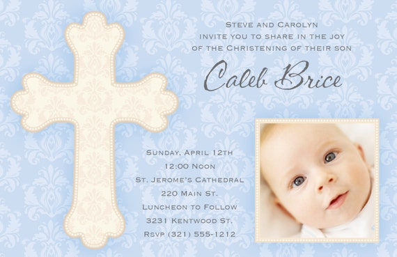 Photo Announcement Baptism Christening New Baby Boy Birth