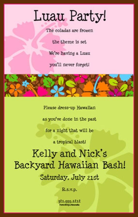 tropical luau invitation hawaiian hibiscus party invitation