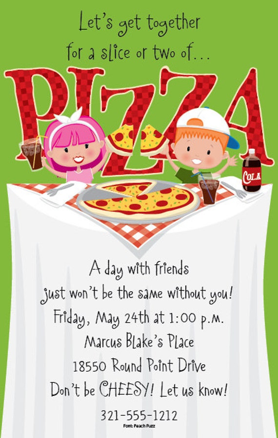pizza party kids invitation childrens party invitation birthday