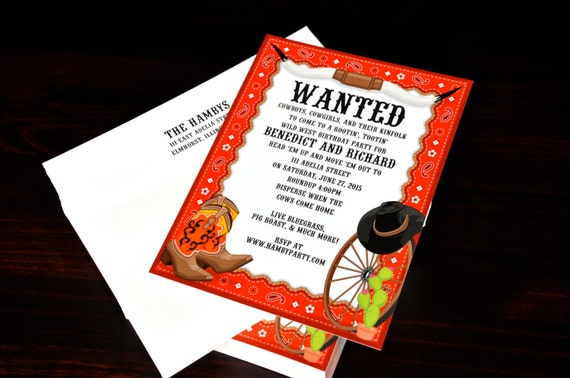 Hook Em Western Invitation Birthday Card Custom