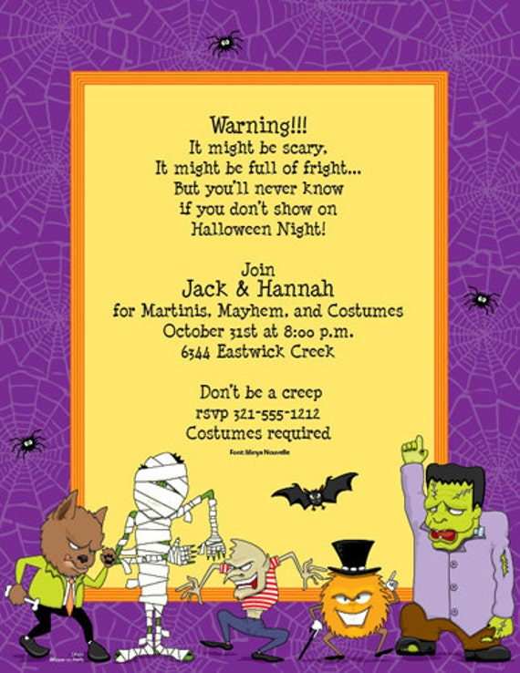 Monster Mash Halloween Party Invitation Family Kids Etsy