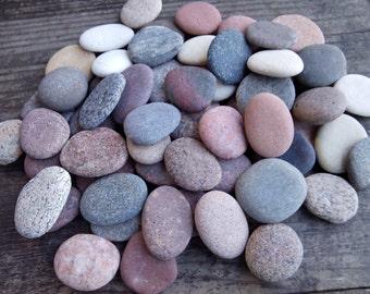 Round Sea Stones -Flat Stones 70 pcs - Medium Small Baltic Beach Stones - Beach Pebbles