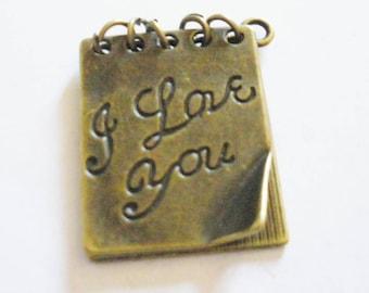 1 open book charm love bronze