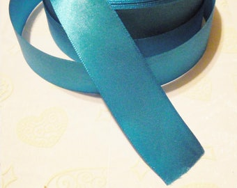 25 mm turquoise blue satin ribbons