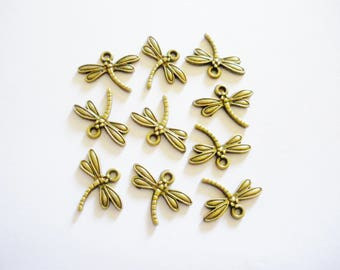 10 charms Dragonfly Antique Bronze 18 x 14 mm