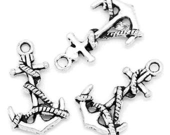 10 charms pendants anchor antique silver 19 mm x 11 mm