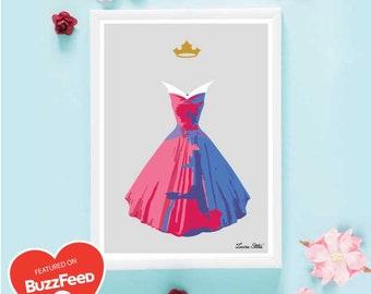 Disney's Aurora Poster/Print - minimalist sleeping beauty aurora poster art decor