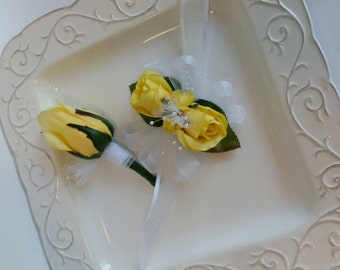 Small Yellow Corsage with Matching Boutonniere  Corsage Set  Homecoming  Prom or Baby Shower On Clearance