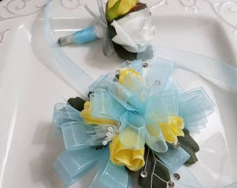 Light Blue and Yellow Wrist Corsage With Matching Boutonniere Artificial Flowers Ready  To Ship Prom Set