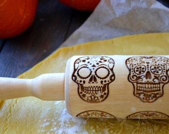 Sugar Skull Halloween Rolling pin Dia de los Muertos Cookie Stamp Baking gift Cook Kitchen decor Skull pattern Gift for Her Mom | 55 |
