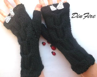 Women M Gloves Ready To Ship Hand Knitted Accessories Fingerless Mittens Arm Warm Wrist Warmers Winter Cabled Striped Wool Mohair Green 475