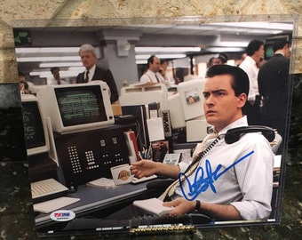 Charlie Sheen - Wall Street 1987 - Signed 8x10 Photo Autographed - Coa - Authenticated by PSA - Vintage