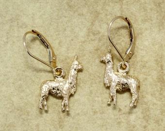 Alpaca  Earrings for her,  Small Three Dimensional Solid 14kt. gold Suri Alpaca Earrings ,Alpaca Earrings for alpaca lover, alpaca farm