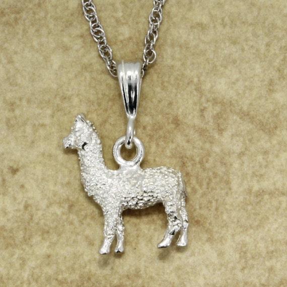 Alpaca Slide Charm in 925 Sterling Silver Huacaya Alpaca Charm