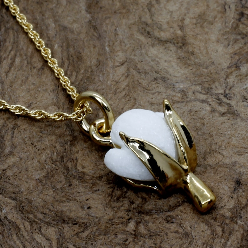 2 year Second Anniversary gift for her Cotton Anniversary Gift Small 14kt gold