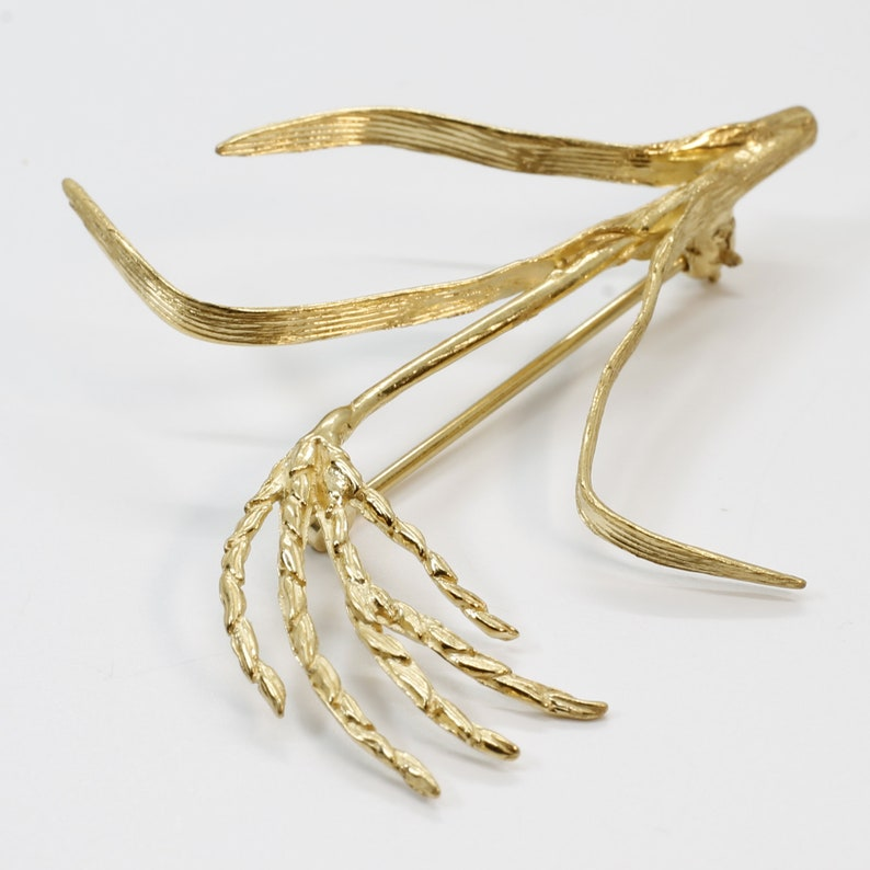 Rice Brooch for rice farmers wife rice grower Rice association gift for her Gold Rice Stalk Brooch in  14kt Gold Vermeil in Large Size