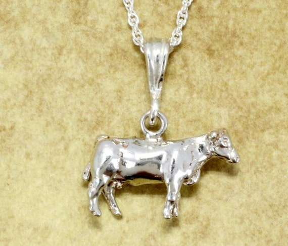 Silver Cow Charm Jewelry Chain Length Initial Cow Necklace Custom Birthstone Personalized Cow Themed Gifts for Girls