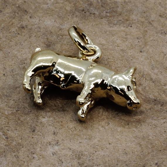 Farmgirl gift 4-H FFA charm Show Lamb Slide Charm 14kt Gold Vermeil Show Lamb Slide Charm Stock show animal charm for girl