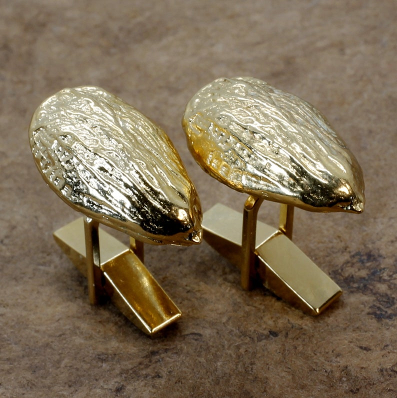 Almond Grower Gift for him California Almond gift for men,Almond Board Gold Almond Cuff Links with Actual Size 14kt Gold Vermeil Almonds