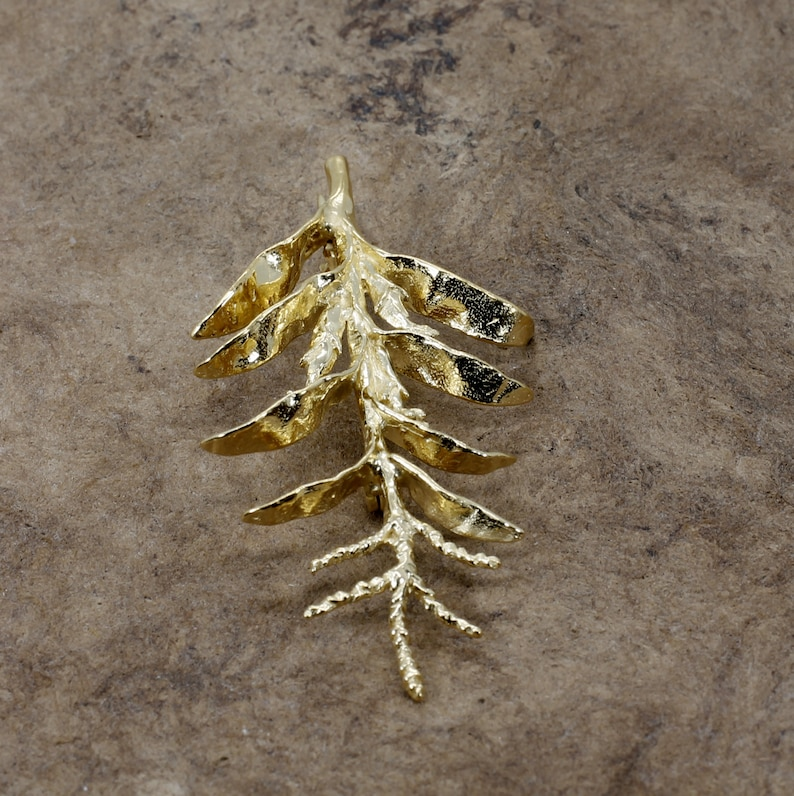 Gold Corn Brooch with 14kt Gold Vermeil Tall Corn Stalk Brooch or Pin Unique corn farmer  gift for wife special corn farmer gift for her