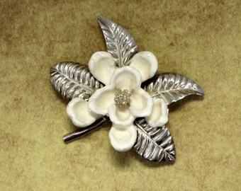 Silver Magnolia Brooch  or Pin