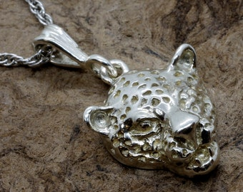 """Leopard Jewelry, Medium Leopard Head Necklace in Sterling Silver on 18"""" chain, Wild animal lover, Africa Jewelry, Big Cat Necklace, Gift Mom"""