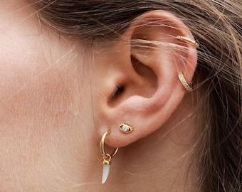 73421f472 Tusk hoops, charm Hoops, Tiny Hoop Earrings, huggie Hoop charms Earrings, Small  Pendant tusk Earrings