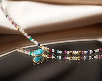Tourmaline necklace, Turmalina Multicolor De Piedra Natural, natural stone beads necklace, turquoise necklace,