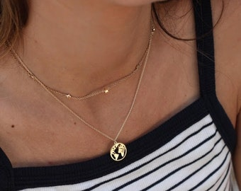 World map necklace etsy world map necklace earth necklace map necklace globe necklace map jewelry world globe necklace wanderlust travel necklace gumiabroncs Gallery