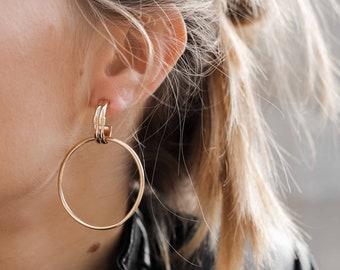 double disc Earrings, Double hoop earrings, big hoops, Outline Circle Ear, Frontal Hoop Earrings, rocker Hoop Earrings