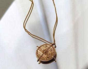 vintage coin necklace, coin necklace, minimal NECKLACE, Bohemian Gold Necklace - maya necklace