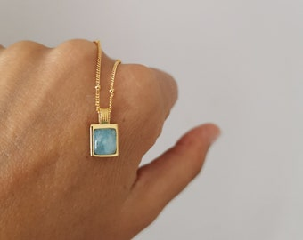 925 sterling silver stone necklace, amazonite necklace, minimal NECKLACE, Bohemian Gold Necklace, blue necklace